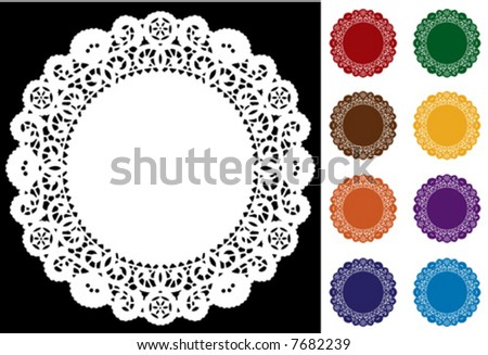 Lace Doily Place Mats, antique vintage design pattern in 8 jewel colors, white on black background, copy space, for setting table, cake decorating, holiday, craft, scrapbooks, albums. EPS8 compatible.