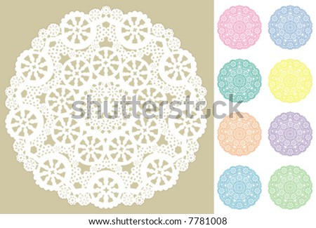 Lace Doily Place Mats, antique vintage filigree design pattern in 9 pastel colors, for setting table, cake decorating, holidays, crafts, scrapbooks, albums. EPS8 compatible.