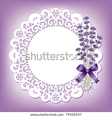 Lace Doily, Sweet Lavender, Vintage place mat, flower bouquet, satin ribbon, pastel violet background. Copy space for Mother's Day, birthday, anniversary, wedding, cake decorating. EPS8 compatible.