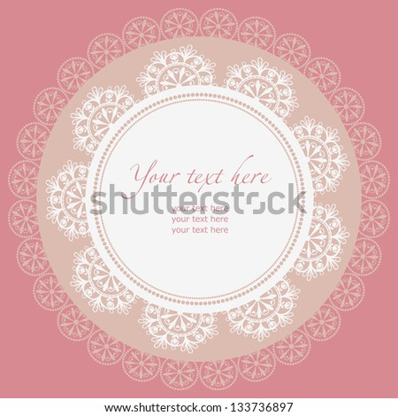 Lace frame. Ornamental round lace pattern, circle background.