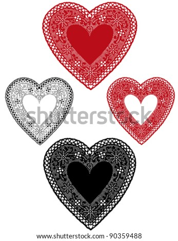 Lace Heart Doilies, red, white, black vintage, antique designs, baby hearts border, copy space for Valentines Day, Mothers Day, anniversary, birthday, Christmas, scrapbooks, cake decorating. EPS8.