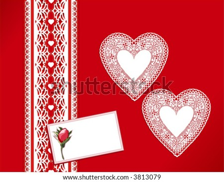 Lace Heart Doilies, Victorian style present, vintage design, red rose bud, gift card with copy space for Valentines Day, Christmas, holidays, celebrations. EPS8 compatible.