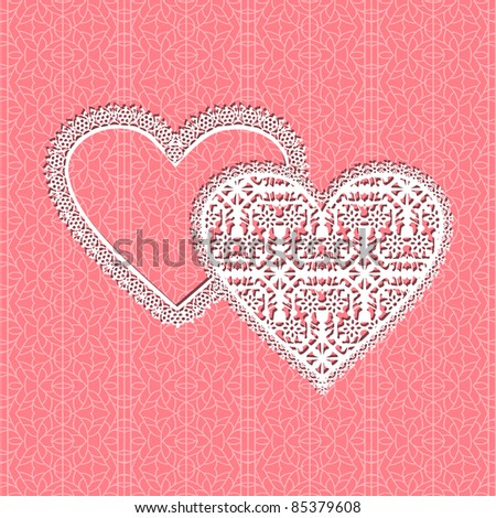 lace heart vector frame with floral pattern on lace background - stock vector