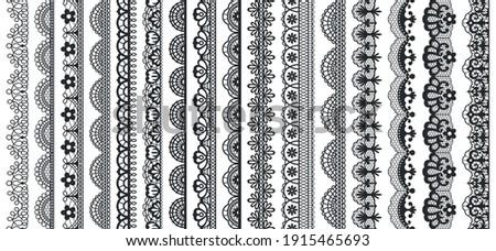 Lace pattern elements. Vintage seamless figured lace borders, beautiful wedding lace decoration. Black lace borders vector illustration set. Seamless black gorgeous stripe, delicate simple pattern