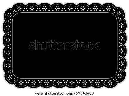 Lace Place Mat, eyelet doily. Decorative black place setting for home decorating, setting table, arts, crafts, scrapbooks, albums, backgrounds. Isolated on white. EPS8 compatible.