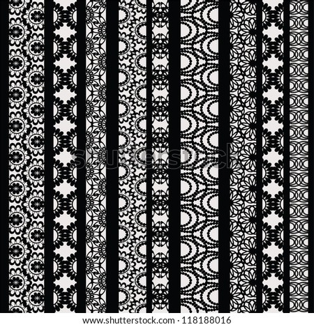 Lace ribbons vector fabric seamless  pattern with different stripes