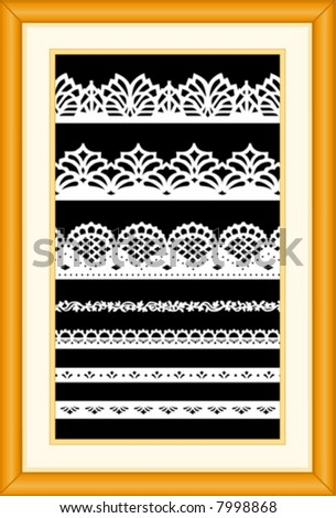 Lace Sampler. Old fashioned antique vintage designs isolated on black background, matted oak wood picture frame for interior decorating, scrapbooks, arts, crafts, home decor. EPS8 compatible.