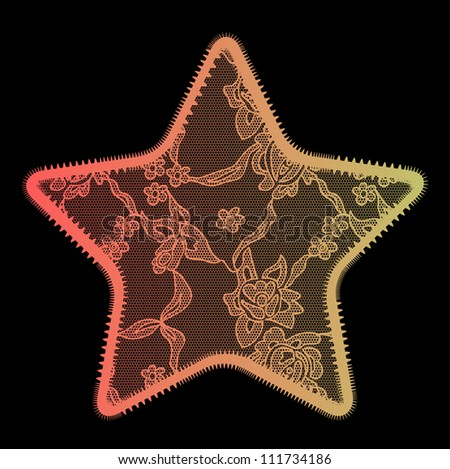 Lace star gradient vector applique. May be used as decoration.