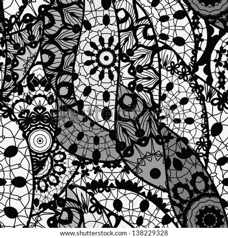 Lace vector fabric seamless pattern.Pattern with lines, waves.
