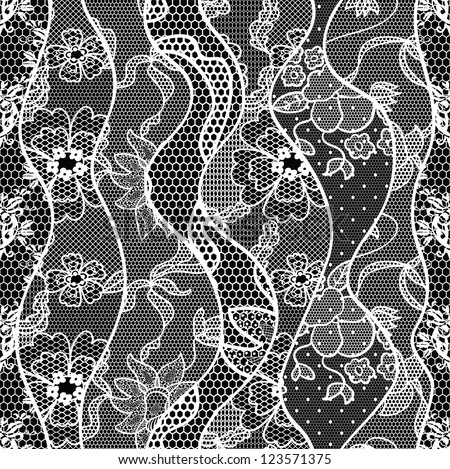 Lace vector fabric seamless  pattern with roses