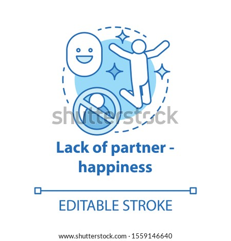 Lack of partner happiness concept icon. Joy of being alone. Happy divorce. Fun from breaking problem relationship idea thin line illustration. Vector isolated outline drawing. Editable stroke Stock photo ©