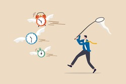 Lack of time or running out of time, countdown for work project deadline or time is valuable thing in life concept, frustrated businessman hurry chasing to catch flying away alarm clock and stop watch