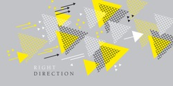Laconic light gray and yellow abstract concept arrow composition. Vector element for cards, header, background, web and print design.