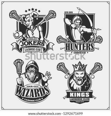 Lacrosse badges, labels and design elements. Sport club emblems with hunter, wizard, king and joker. Print design for t-shirts.