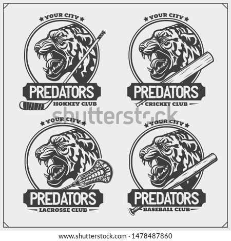 Lacrosse, baseball, cricket and hockey logos and labels. Sport club emblems with tiger. Print design for t-shirt.
