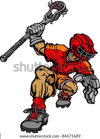 Lacrosse Player Cartoon Vector Image - stock vector