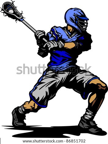 Lacrosse Player Cradling Ball Vector Illustration