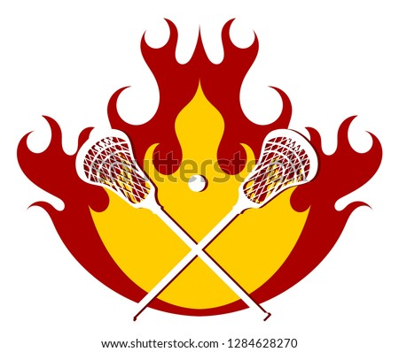 Lacrosse putter and ball on fire background. Flames with sticks for lacrosse. Vector illustration.