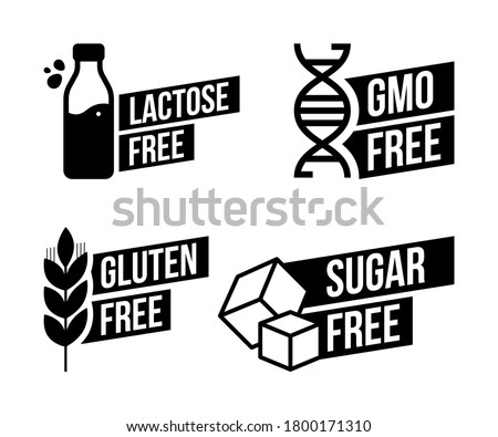 Lactose free, Sugar free, Gluten free, GMO free vector labels for food emblems designs, can be used as stamps, seals, badges, for packaging etc. Decorative element for healthy natural organic nutritio