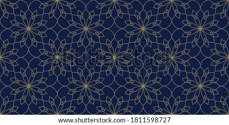 Lacy floral motif line art tessellation flower seamless gold pattern lavender blue background. Simple graphic fretwork surface fancy backdrop. Simple lineal shape geometric allover tracery print block