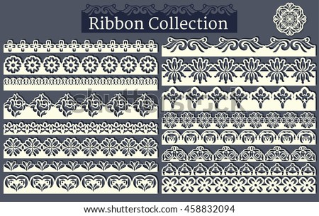 Lacy scrapbook design borders. Set of seamless lace borders #458832094