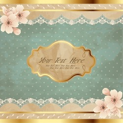 Lacy square banner with flowers (eps10); jpg version also available