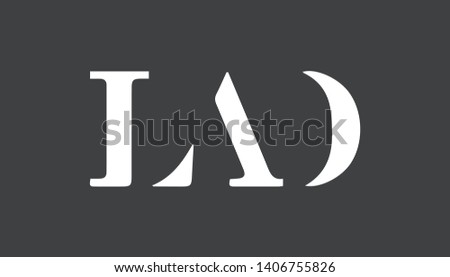 LAD logo with combination in creative minimalist style. Vector illustration for LAD logo. Foto stock ©