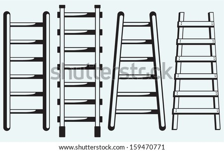 Ladder against the wall isolated on blue background