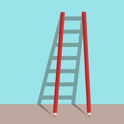 Ladder of success concept of two pencils with shadow on blue background. Goal, career and creative concept. Flat design. Vector illustration. EPS 8, no transparency