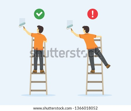 Ladder safety rules. Man painting wall with paint roller on a ladder. Back view. Flat vector illustration. Stock photo ©