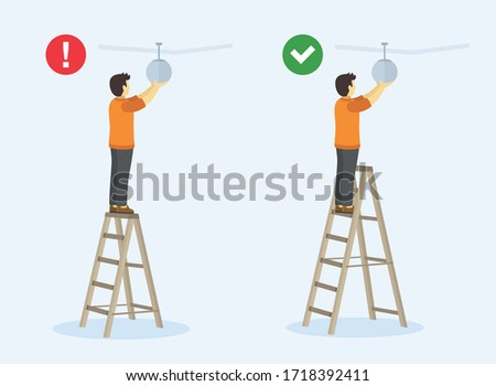 Ladder safety rules. Man standing on the top step of the ladder. Perspective view. Flat vector illustration. stock photo