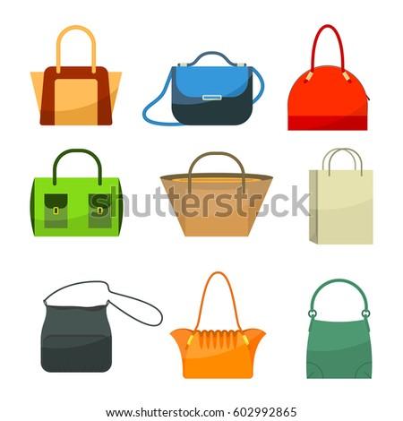 ladies bags icons flat design