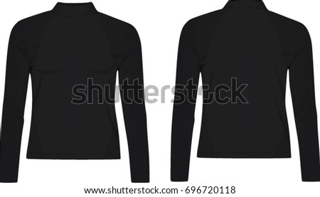 Ladies high neck long sleeve top. vector illustration