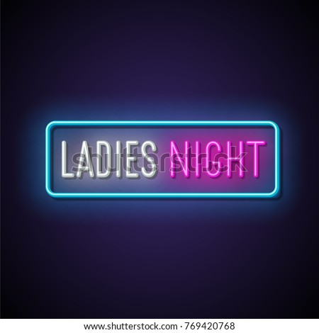 Ladies night neon banner. Vector illustration.