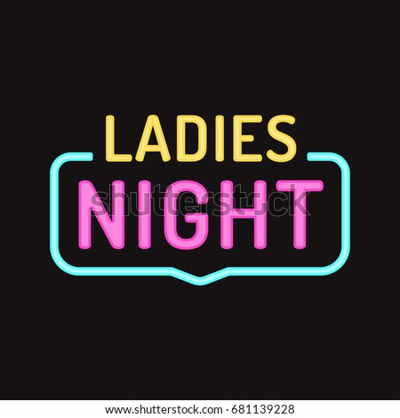 Ladies night. Vector badge illustration on dark background.