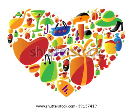 Ladies shopping icons arranged in heart shape. Vector illustration.