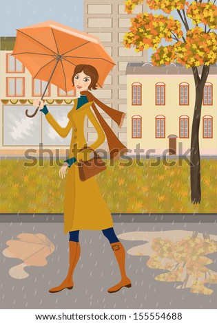Lady and autumn city. Illustration of girl with a umbrella on a background of city. Autumn landscape and rain.