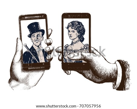 stock-vector-lady-and-gentleman-taking-a-selfie-template-with-hand-holding-mobile-with-photo-hand-drawn