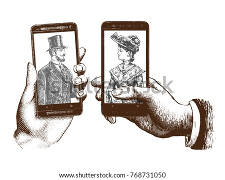 lady and gentleman taking selfie template with hand holding mobile with photo. Hand drawn engraving style pen crosshatch hatching paper painting retro vintage vector lineart illustration of the modern