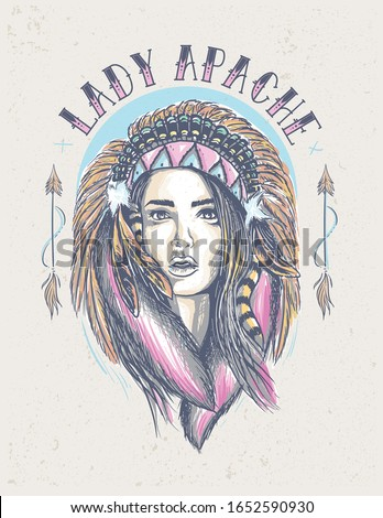 lady Apache Indian illustration in vintage color