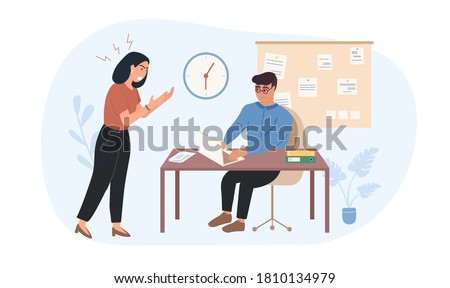 Lady boss is dissatisfied with the work of the employee. The leader shouts at the subordinate. Worker afraid dispotic lady boss. Woman tyrant Pressure on employees. Woman Chef Flat Vector Illustration Stock foto ©