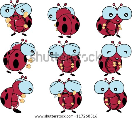 lady bug emotion, happy, sad, angry, sorrow vector
