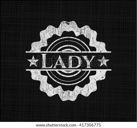 Lady chalk emblem, retro style, chalk or chalkboard texture