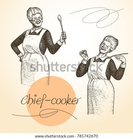 lady chef. cooking. vintage...