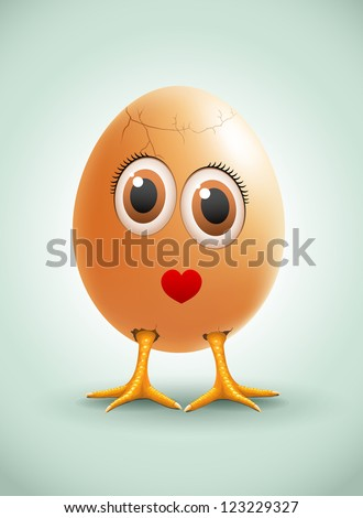 Lady Egg. Vector female egg character.