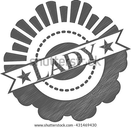 Lady emblem draw with pencil effect