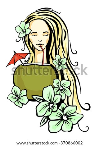 Lady enjoy coconut cocktail with flower in her hair. Vector pcture.