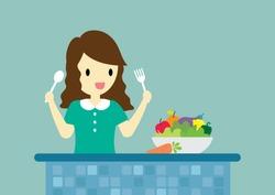 Lady enjoy eating healthy food vector cartoon.
