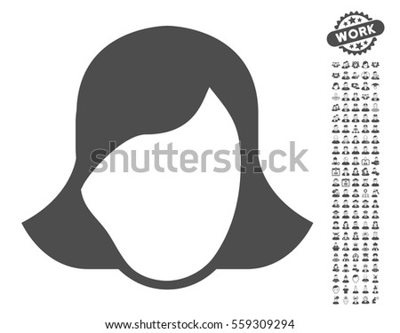 Lady Face Template pictograph with bonus human graphic icons. Vector illustration style is flat iconic gray symbols on white background. #559309294