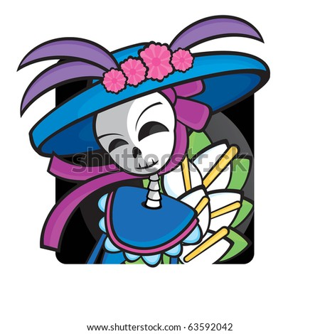 Lady from Day of the Death. Cool Vector Style.